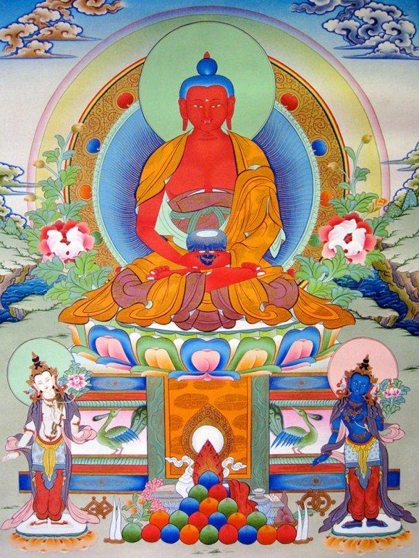Buddha Amitabha with Bodhisattvas Chenrezig & Vajrapani / Ο Βούδας Αμιτάμπα με τους Μποντισάτβα Τσενρέζικ & Βατζραπάνι