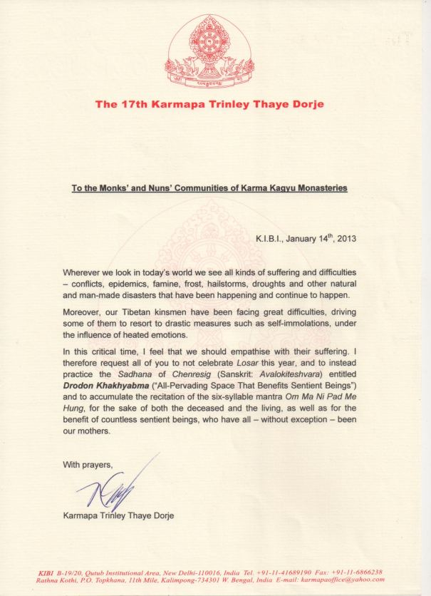 Karmapa announcement 14_1_13