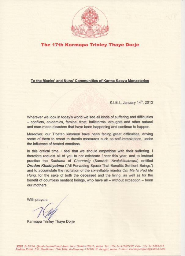 Karmapa announcement 14_1_13