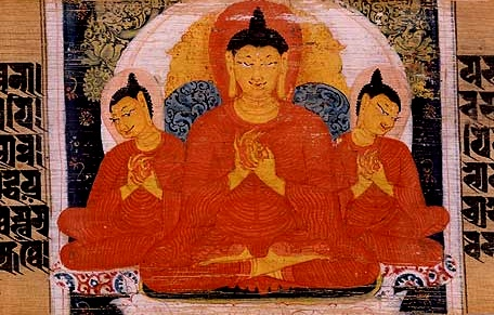 Painting of the Buddha supernaturally multiplying his body, referred to as the miracle at Sravasti